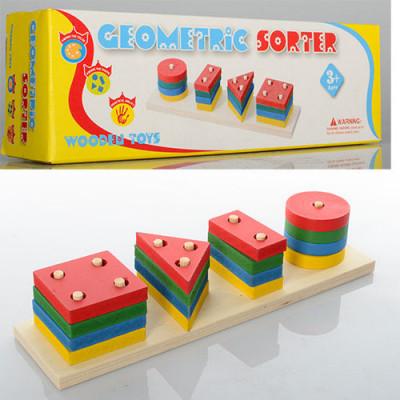 Деревянная игрушка Пирамидка Геометрик сортер (MD 0715)