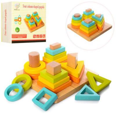 Деревянная игрушка Геометрика пирамидка (MD 1336)