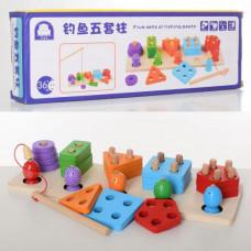 Деревянная игрушка 2 в 1 Сортер Геометрик и магнитная рыбалка