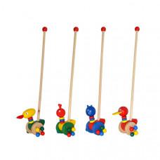 Деревянная игрушка каталка на палочке 4 вида  MD 0025
