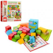 Деревянная игрушка конструктор Городок 33 детали