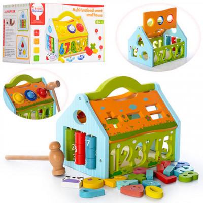 Деревянная игрушка Сортер стучалка Домик (MD 0936)