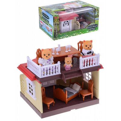 Загородный домик Happy Family с семейкой котиков, аналог Sylvanian Families (012-04)