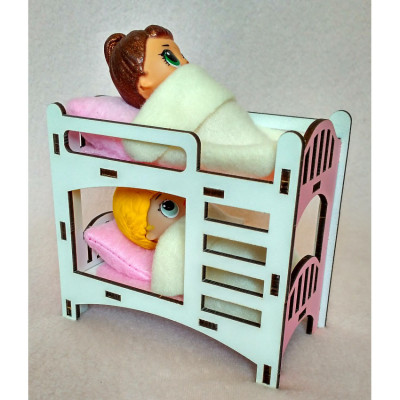Кроватка двухъярусная для маленьких кукол LOL с текстилем (1201)