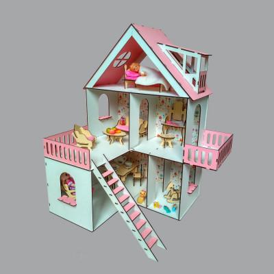 """Кукольный домик """"Солнечная дача"""" крашеный с обоями, мебелью и текстилем (2102)"""