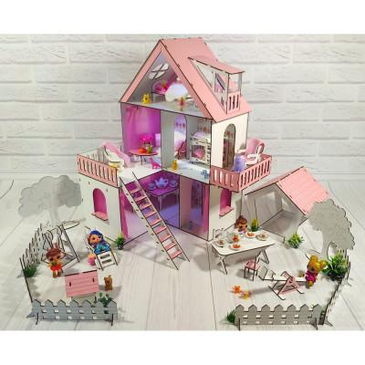 """Кукольный домик """"Солнечная дача"""" крашеный с двориком, обоями, шторками, мебелью и текстилем (2113)"""