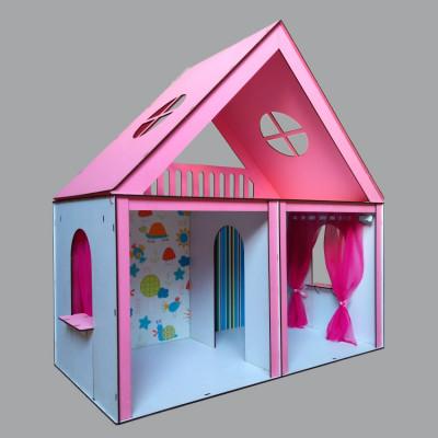 """Кукольный домик """"Особняк Барби"""" крашеный с обоями и шторками (3103)"""