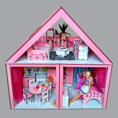 """Кукольный домик """"Особняк Барби"""" крашеный с мебелью, обоями, текстилем и шторками, 3 комнаты, 2 этажа (3104)"""