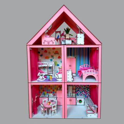 """Кукольный домик """"Большой особняк Барби"""" крашеный с мебелью, обоями, текстилем и шторками, 5 комнат и 3 этажа (3106)"""