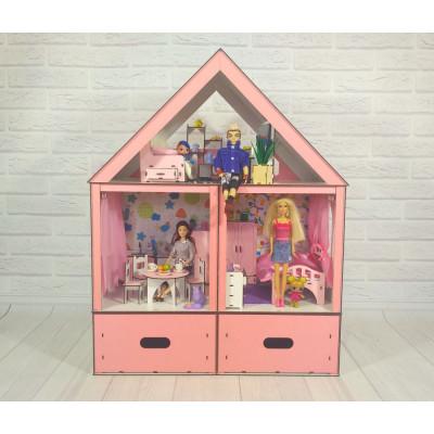 """Кукольный домик """"Особняк Барби Lux"""" крашеный с мебелью, обоями, текстилем и шторками (3107)"""