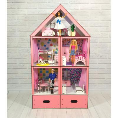 """Кукольный домик """"Большой особняк Барби Lux"""" крашеный с мебелью, обоями, текстилем и шторками, 5 комнат и 3 этажа (3108)"""