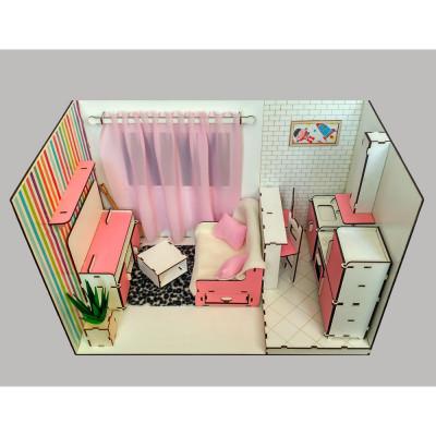 Кукольный домик Квартира-студия ROOMBOX1 с мебелью, обоями и шторками (7001)