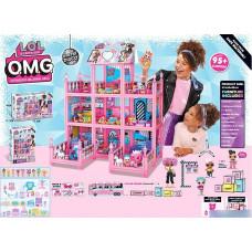 """Домик для кукол """"Лол"""": мебель, 3 этажа, 9 комнат, световые эффекты, 95 сюрпризов, наклейки, в коробке"""