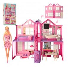 Будиночок для ляльок 2 поверху, 85-в 70-39,5 см, меблі, світло, лялька 29 см, батарейки, коробка 41-72-17,5 см