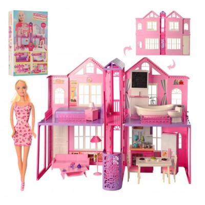 Домик для кукол 2 этажа, 85-в 70-39,5 см, мебель, свет, кукла 29 см, батарейки, коробка 41-72-17,5 см (DEFA 8440-BF)