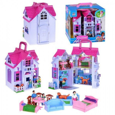 Домик для кукол раскладной F611 с мебелью, 3 фигурки в комплекте