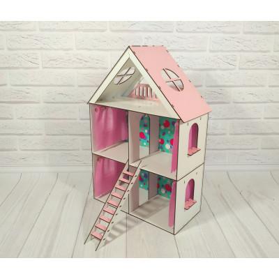 Кукольный домик для Lol Little Fun maxi крашеный с обоями, шторками и лестницей (2105)
