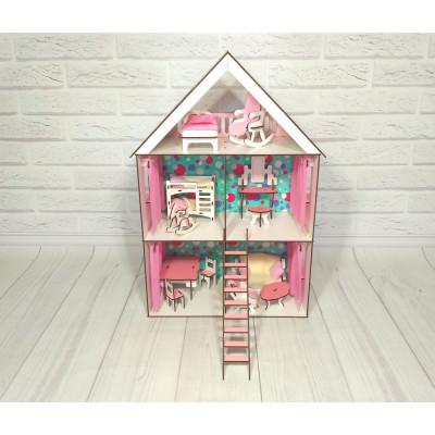 Кукольный домик для Lol Little Fun maxi с обоями, мебелью и текстилем и лестницей (2106)