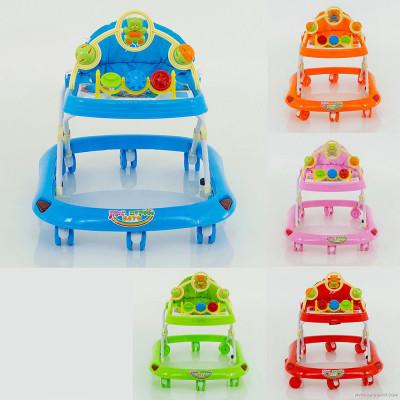 Детские ходунки JOY 5 цветов, проигрывает 4 мелодии, d колес - 6.5см (258)