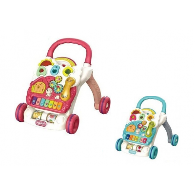 Детские музыкальные ходунки-каталка, игровой центр, трещотка, пианино, свет, розовая и голубая (698-60-61(Р))