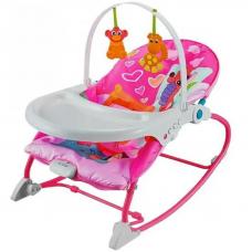 Детский шезлонг 8169, звук, вибро, стульчик, съёмная столешница, до 18 кг