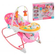 Дитячий шезлонг-гойдалка-стільчик, музична панель, вібрація, 2 гризунка, світло, рожевий