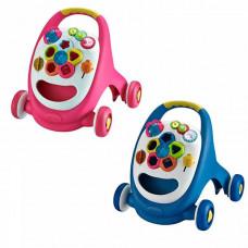 Детская каталка-ходунки - Игровой центр (Синий, розовый)