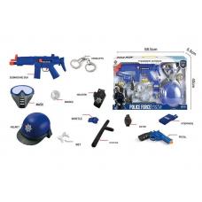 Набор полиции: 9 элементов, автомат с трещоткой, пистолет, кобура, наручники, свисток, аксессуары, в коробке