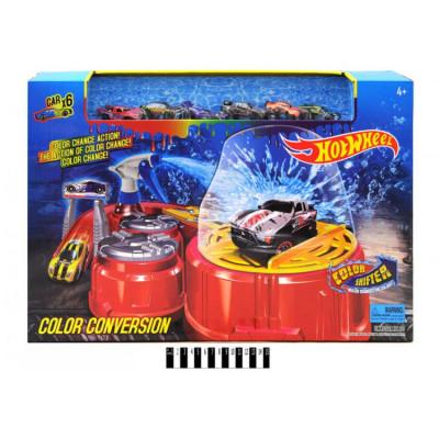 Большой игровой набор Трек-автомойка Hot wheel (Хот Вилс) машинки 6 шт, меняет цвет (6761)