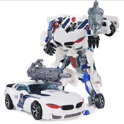 Трансформер боевой, белый, 23 см, «Полицейский», робот-машинка, оружие (8820В (х))