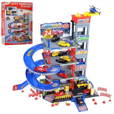 Набор игровой детский гараж 4 этажа, машинка металл 4 шт, вертолет (92128 (Х))