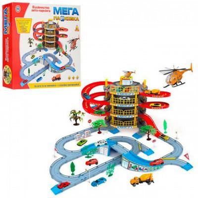 """Детский игровой Гараж """"Мега парковка"""" 4 этажа 2 машинки вертолёт (922-10)"""