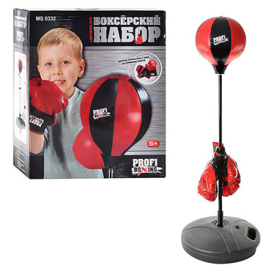 Детский боксерский набор Profi Boxing большой, перчатки и боксерская груша на стойке (MS 0332)
