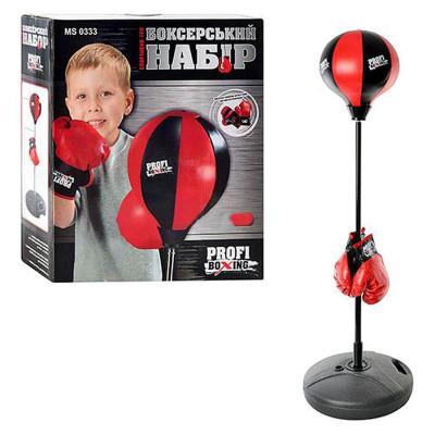 Детский боксерский набор Profi Boxing средний, перчатки и боксерская груша на стойке (MS 0333)
