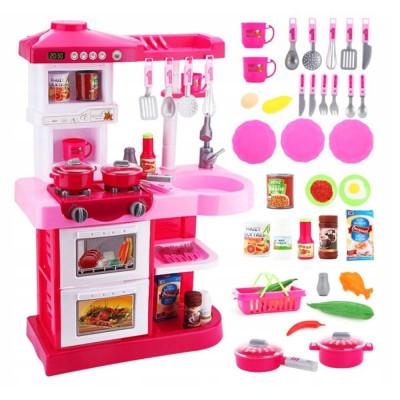 Детская большая кухня с краном и водой, плита, духовка (WD-P17-R17)