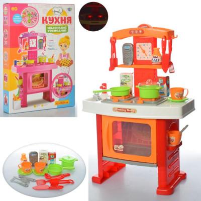 Детская кухня для девочки 42х25х61см плита, духовка светится, звук, посуда (661-91 П)