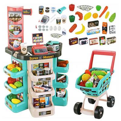 Детский супермаркет с тележкой - 47 предметов (Зеленый)