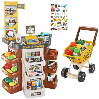 Детский супермаркет с тележкой - 47 предметов (Коричневый)