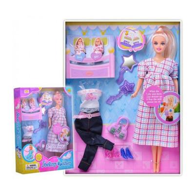 Кукла DEFA беременная со съемным животом и двумя малышами, аксессуары (8009)