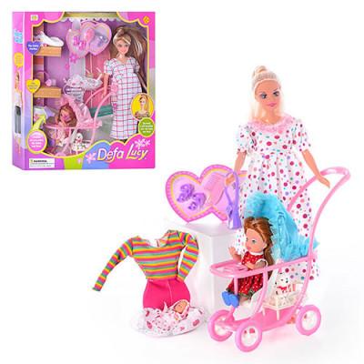 Кукла DEFA Lusy беременная с коляской и аксессуарами (8049)