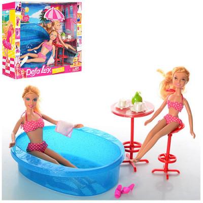 Кукла DEFA Lusy с сестричкой отдых с бассейном 20х20 (8255)