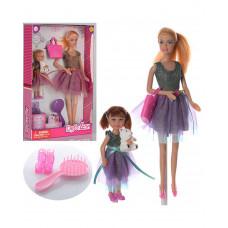 Кукла DEFA 8304, 29 см, с дочкой 13 см, сумка, расческа, туфли, мишка, 2 вида