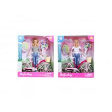 """Кукла 28 см DEFA """"Прогулка"""", велосипед 27 см, 2 вида, 8361-BF"""