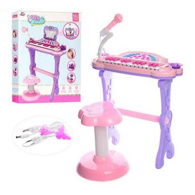 Детский синтезатор-пианино - со стульчиком (Розовый с фиолетовым)