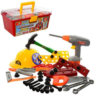 Детский набор инструментов в чемоданчике, с каской, 48 инструментов (2056)