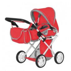 Коляска для куклы CARRELLO UNICO 9346 Red с сумкой