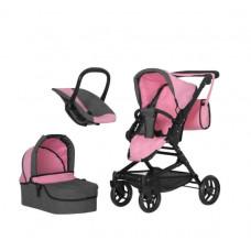 Коляска для кукол 3в1 с люлькой-переноской, прогулочная, железная, Carrello Magia 9636 pink