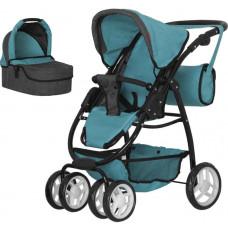 Коляска для куклы 2в1 люлька, прогулочный блок, сумка Carrello Avanti 9662 MIDDLE BLUE