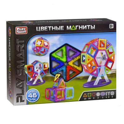 """Конструктор магнитный """"Цветные магниты"""" Play smart 46 деталей (2430)"""
