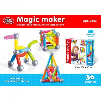 """Магнитный конструктор Play Smart Magic Maker """"Магический творец"""", 36 деталей (2443)"""